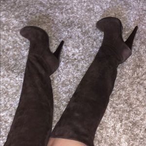 Over the knee brown suede heeled boots